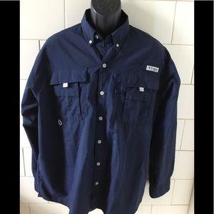 Columbia PFG Bahama II Navy Long Sleeve Shirt L